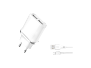 L52 XO 2xUSB 2.1A white box charger + micro cable