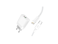 L64 XO wall charger 18W USB QC3.0/PD Type-C + lightning cable white box