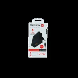 Swissten wall charger SAMSUNG 25W + USB-C/USB-C cable 1,2 M black box