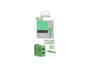 SMS-A53 Somostel wall charger + lightning cable 2A 2xUSB green box