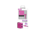 SMS-A53 Somostel wall charger + Type-C cable 2A 2xUSB pink box