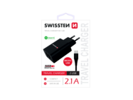 SWISSTEN charger 2x USB Smart IC + Micro USB cable black box