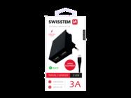 SWISSTEN charger 2x USB Smart IC + microUSB cableblack box