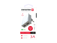 SWISSTEN charger 2x USB Smart IC + microUSB cablewhite box