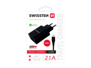 SWISSTEN charger 2x USB Smart IC + Type-C cable black box